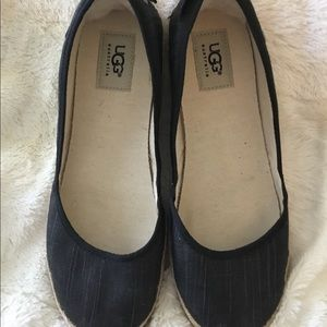 UGG Black Flats 8 1/2 Canvas Australia